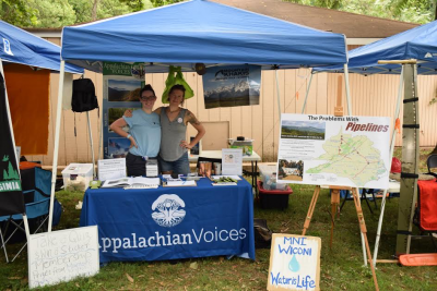 Virginia Grassroots Organizing Assistant Max Rooke (left) at an event with Virginia Field Organizer Lara Mack.