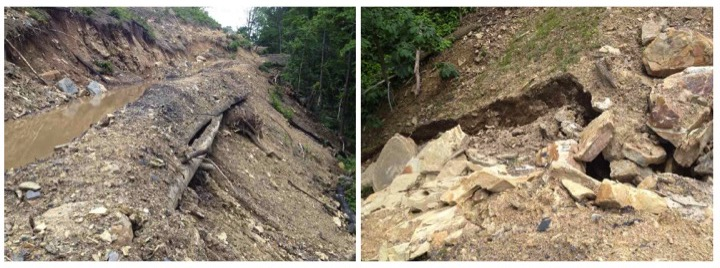 Erosion and off-site impacts on the Middle Ridge permit in West Virginia. (Courtesy of Kanawha Forest Coalition)