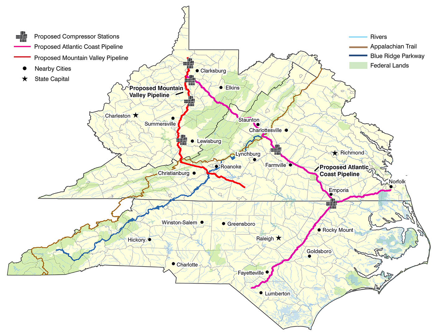 A map showing the routes of the proposed Atlantic Coast and Mountain Valley pipelines, including the rivers, Blue Ridge Parkway and Appalachian Trail which would all be impacted by the routes. For complete descriptions that meet with ADA compliance, please contact Lara Mack at lara@appvoices.org