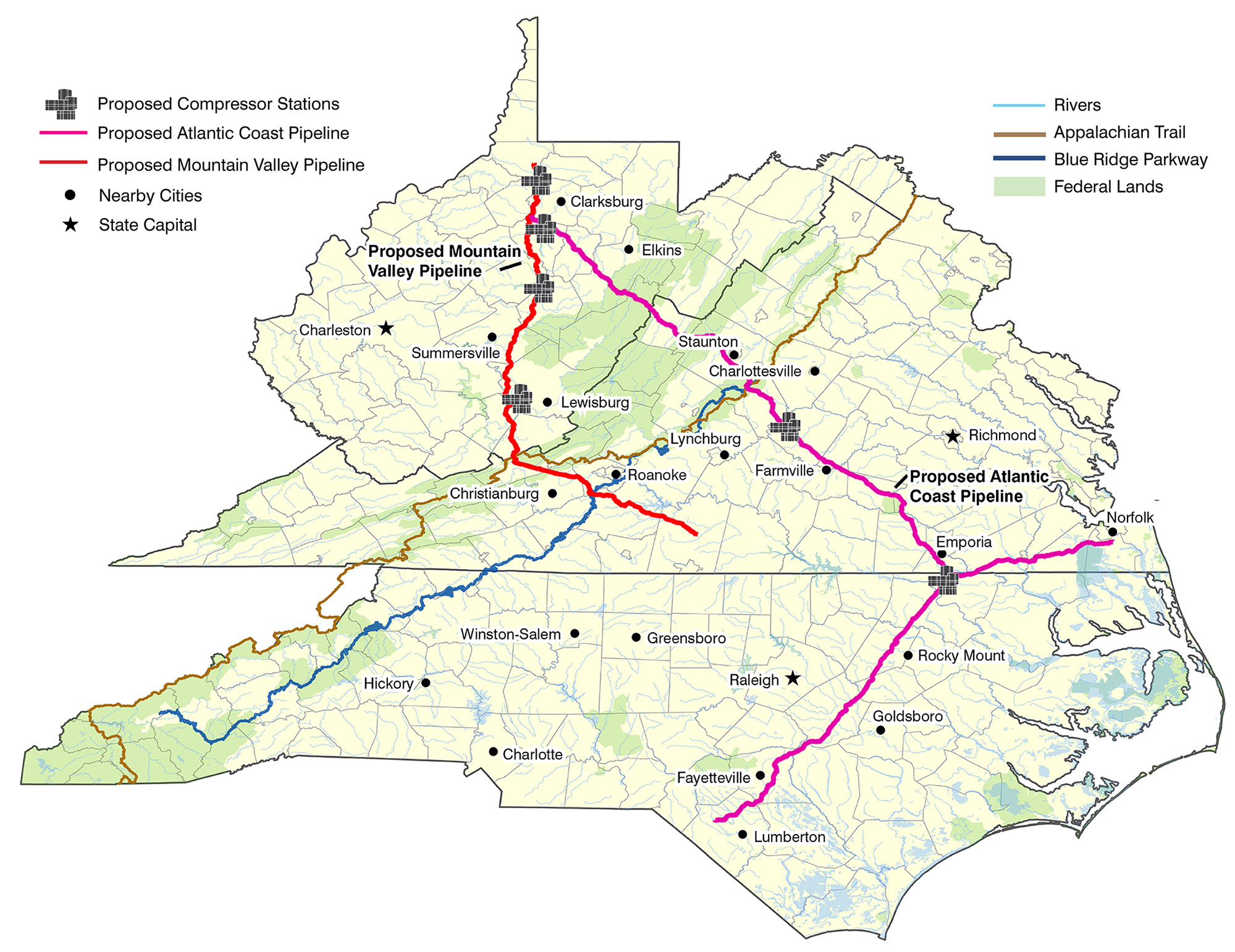 a map showing the routes of the proposed atlantic coast and mountain valley pipelines including
