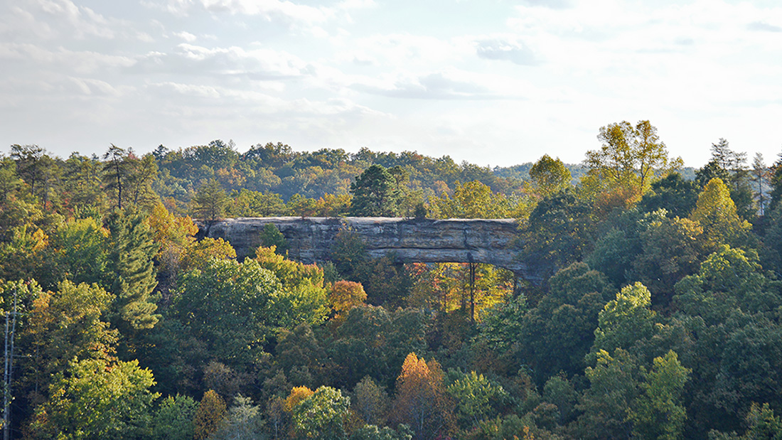 The striking Natural Bridge serves as the namesake of this Kentucky park and offers hikers a stone promenade with views of the Red River Gorge. Photos by Joe Tennis