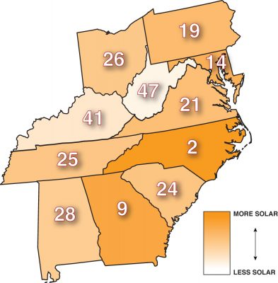 Map of installed solar by state according to 2016 data from  the Solar Energy Industries Association. Graphic by Jimmy Davidson