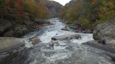 Kayakers at the finish line