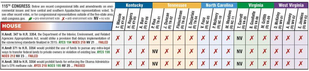 Chart showing legislators' votes