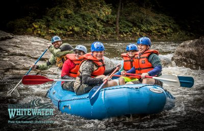 Rafters on a guided rafting trip.