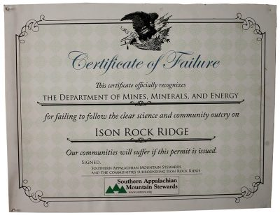 Certificate of Failure