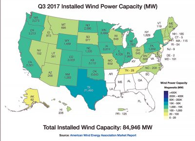 Installed Wind Power Capacity Map