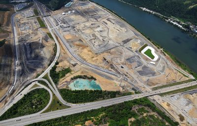 aerial photo of cracker plant construction site