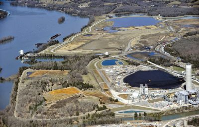 Aerial view of coal ash ponds near river