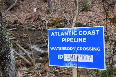 Atlantic Coast Pipeline water crossing sign