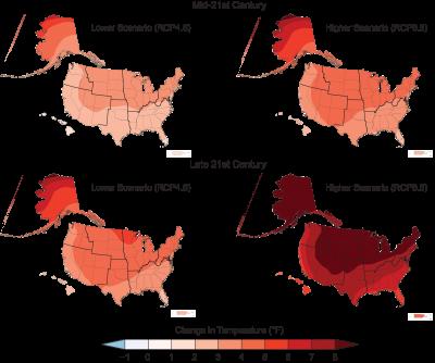 maps of temperature increase