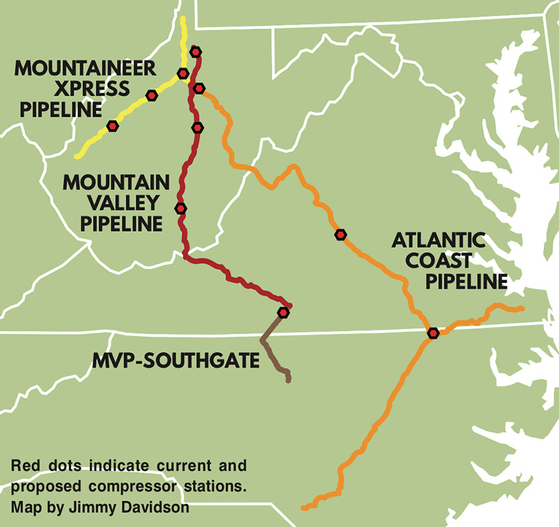 A map showing the routes of the proposed Atlantic Coast, Mountain Valley and MVP Southgate pipelines, and the Mountaineer XPress Pipeline. Red dots indicate current and proposed compressor stations. For complete descriptions that meet with ADA compliance, please email comms@appvoices.org