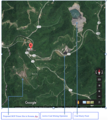 Google map showing relationship of mines to USP Letcher site