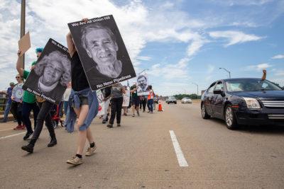 Marching protestors