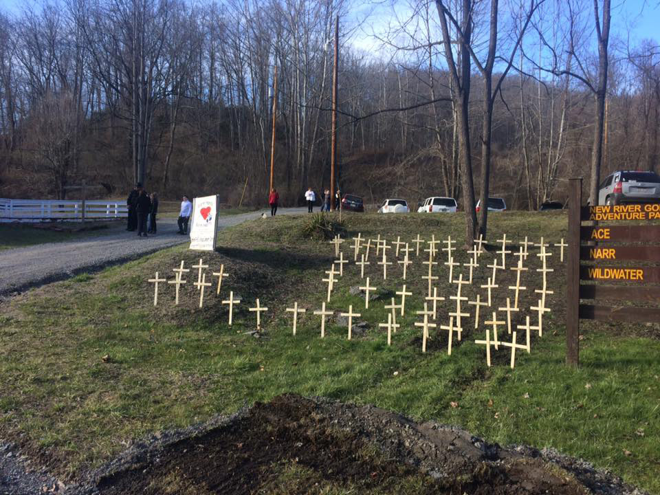 a display of crosses for the deceased