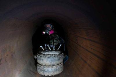 Protestor inside of the pipeline
