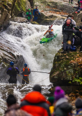Kayaker goes down large rapid during race