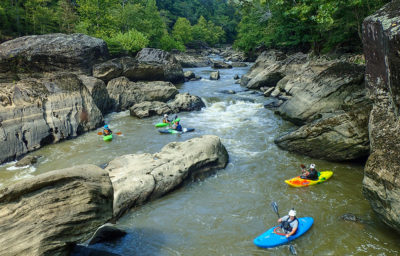 Kayakers converge below a rapid