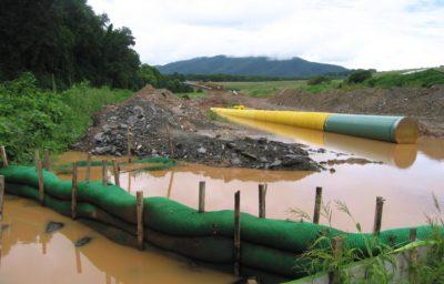 pipeline in flooded field