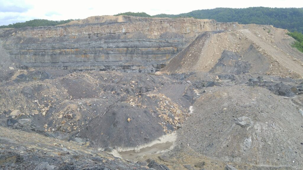 disturbed land from large surface coal mine