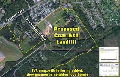 map of coal ash landfill site