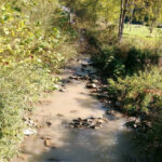 Dark runoff from a mine contaminates a Virginia creek