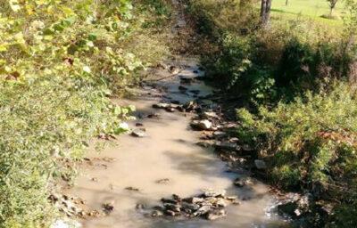 Dark runoff from a mine contaminates a Virginia creek