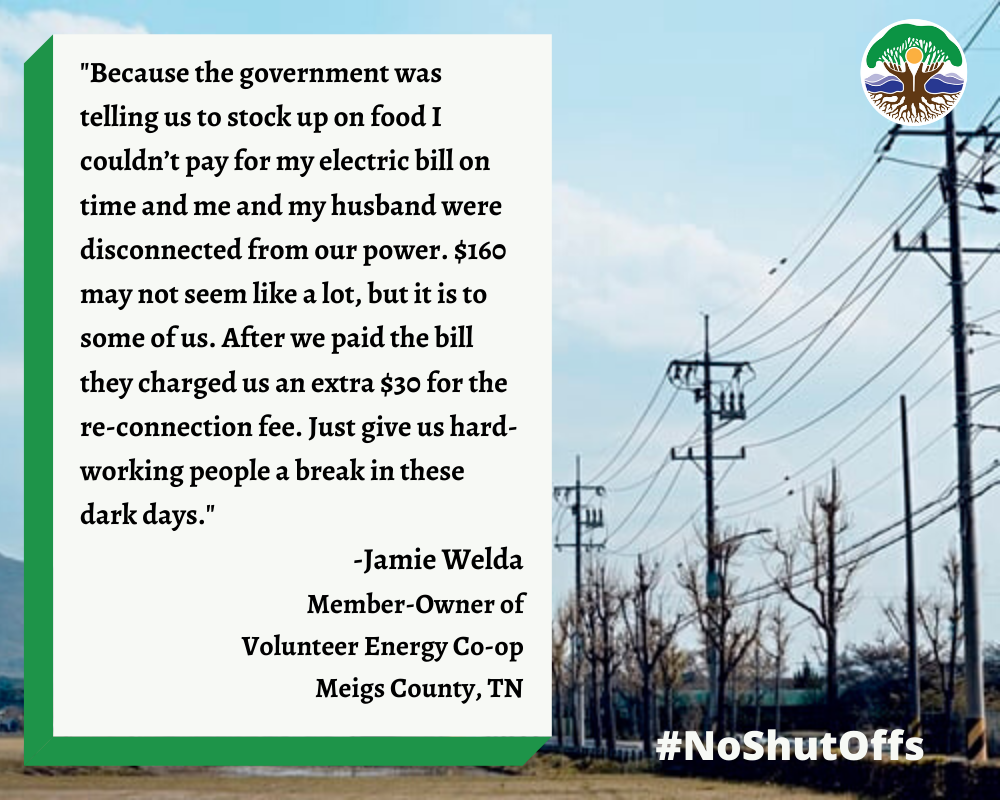 quote from a Volunteer Electric Co-op member about her and her husband's experience being disconnected and then having to pay $30 to be reconnected