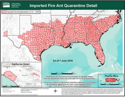 red area shows fire ants inhabiting much of the South