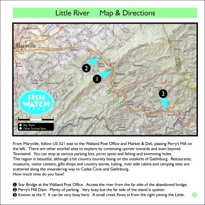 Map of the Little River with key points of interest highlighted