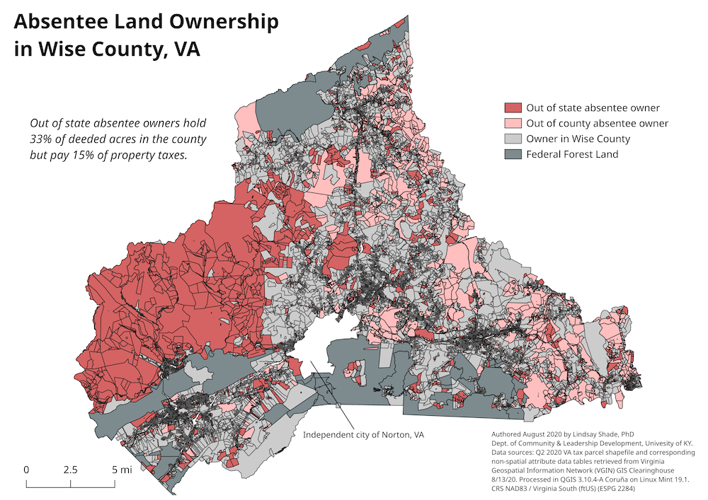 Absentee land ownership in Wise County