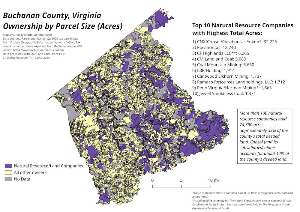 Map of Buchanan County Virginia land ownership