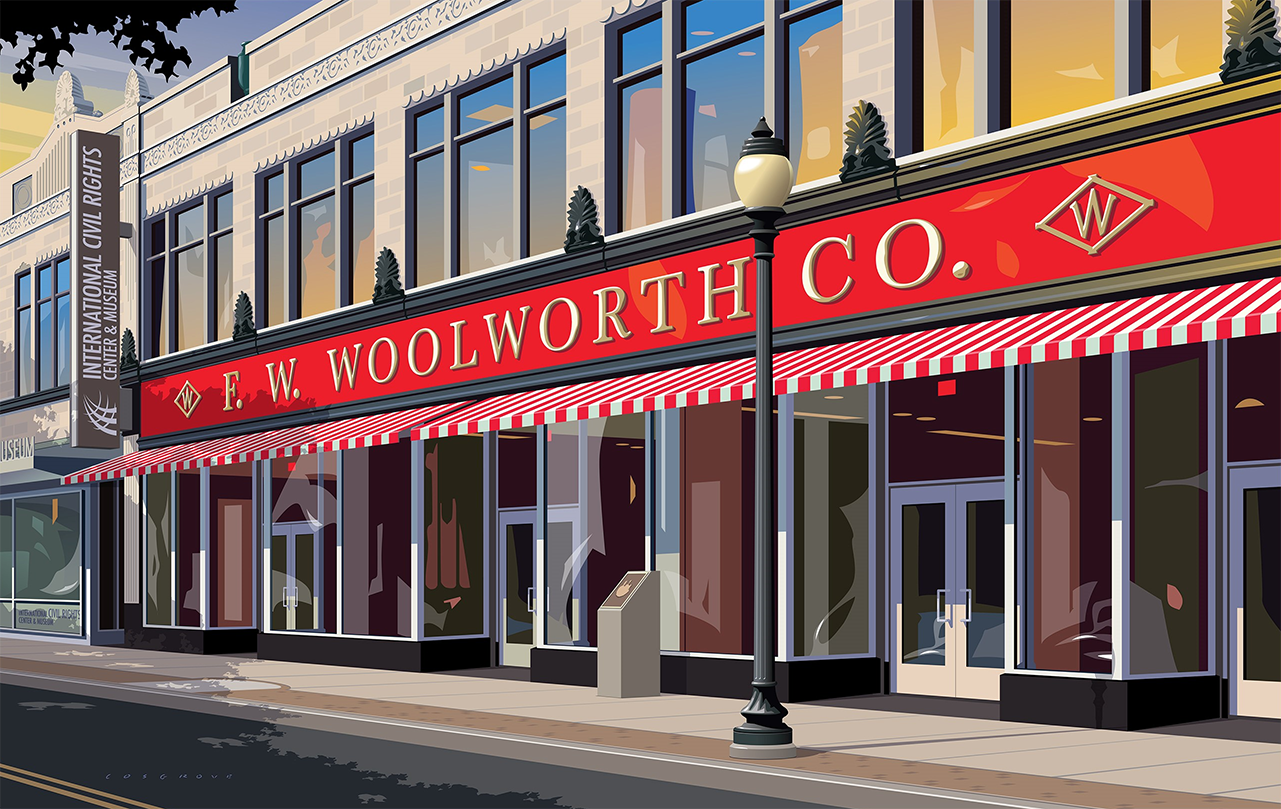 poster showing the front of the museum, which looks like the Woolworths shopping building