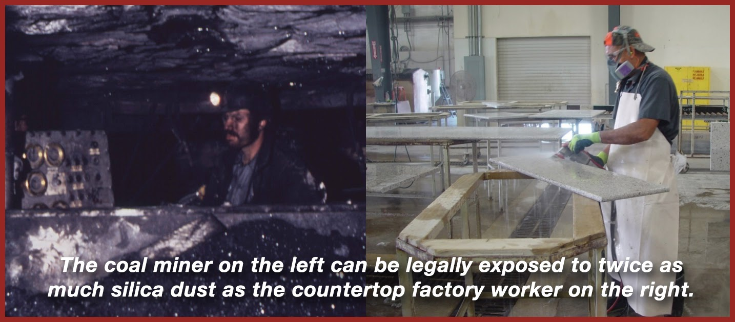 image of coal miner and countertop worker, text says that the coal miner can be exposed to twice as much silica dust as the other worker