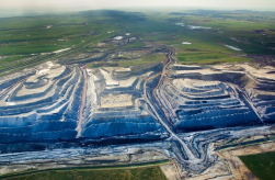 aerial view of huge surface mine