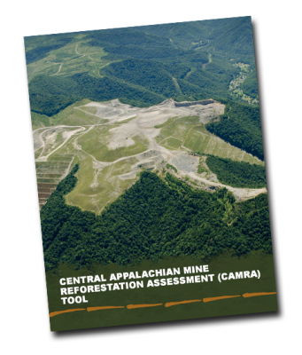 CAMRA report cover with aerial photo of a surface mine that is partially covered with grass