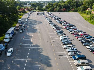 cars line up for a food bank
