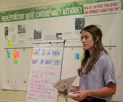Tennessee organizer Bri Knisley presents on TVA at an Energy Democracy workshop in fall 2019