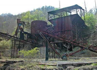 A rusted and abandoned coal tipple at the Sugar Cove mine
