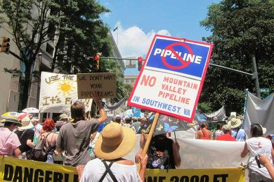 People march to protest the Mountain Valley Pipeline
