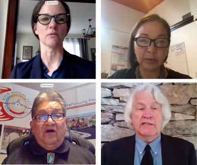 four screenshots of speakers during a virtual hearing