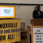 Rev. Calvin Skinner speaks at a podium