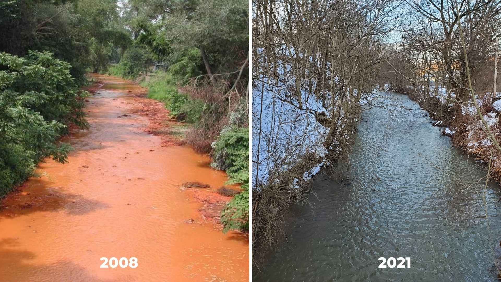 orange creek labeled 2008, same location pictured with blue-green water in 2011