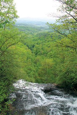 Looking off the 700+ foot drop of Amicalola falls. Photo by Jamie Goodman