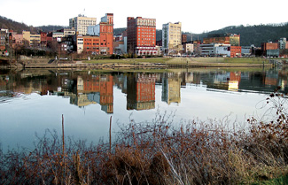 Downtown Wheeling, W.Va., and the Ohio River from Wheeling Island. Photo by Tim Kiser.