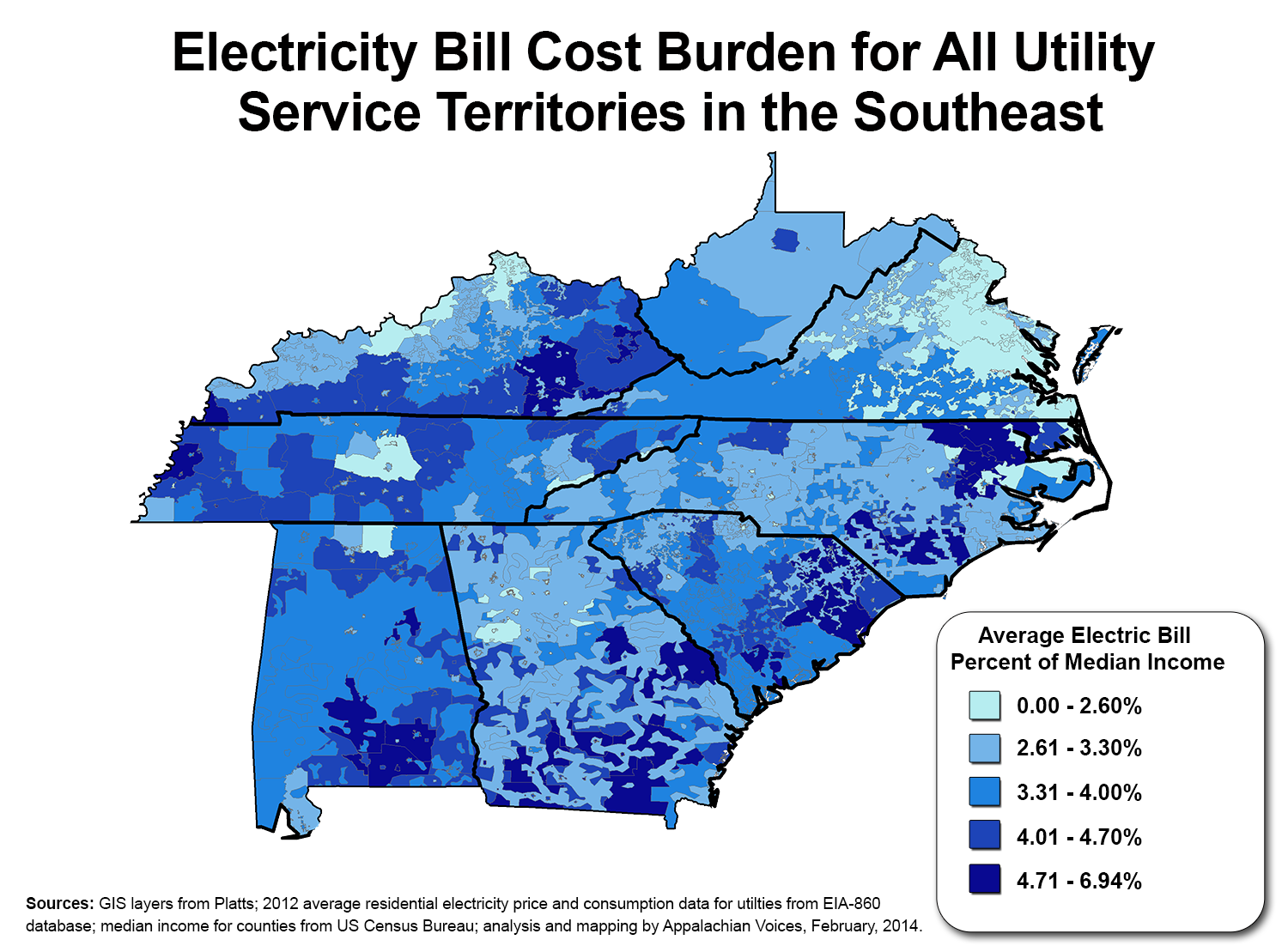 main electricity cost burden for all electric utilities in the southeast
