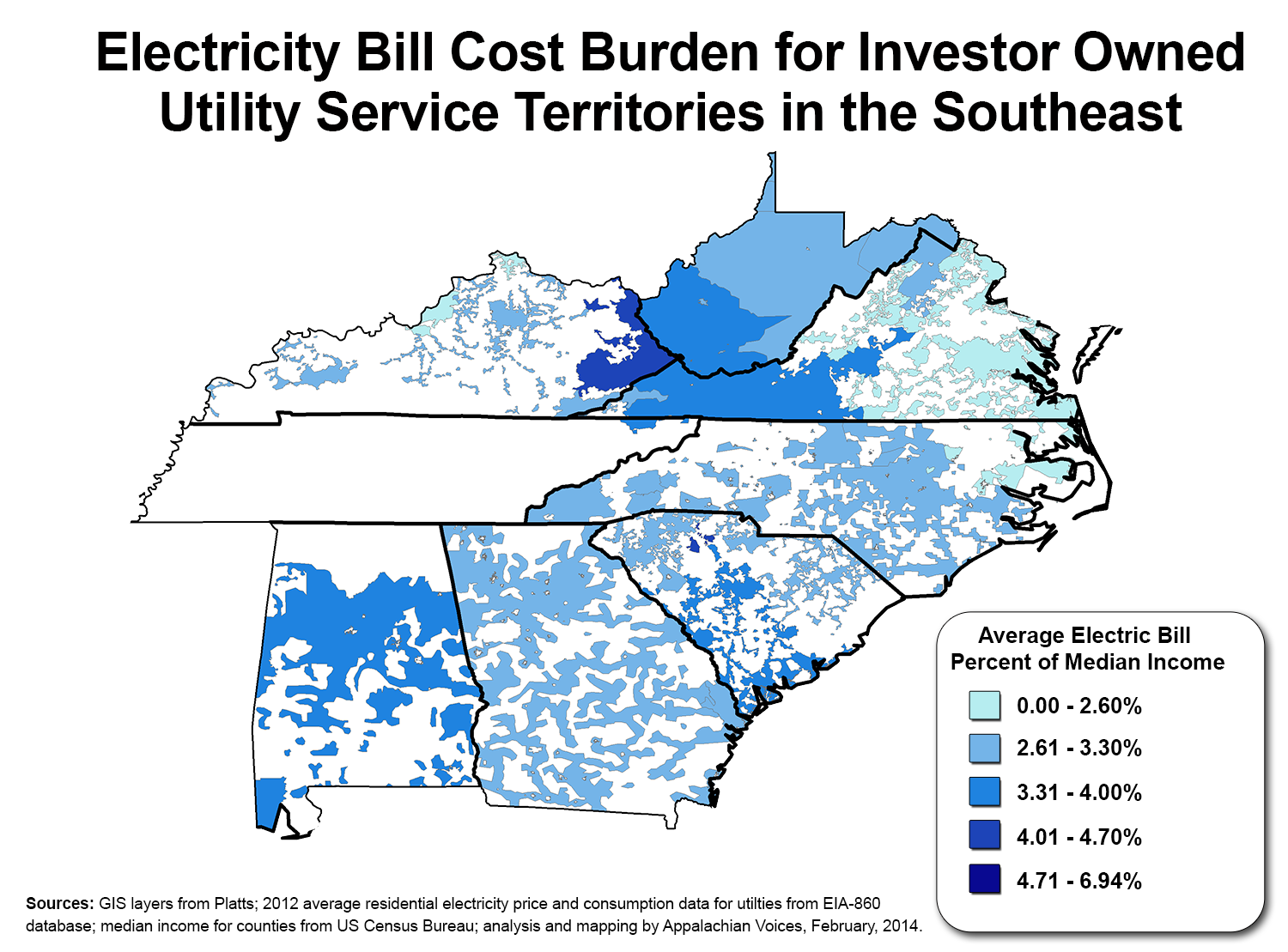 Google Features Map Of Poverty And Electricity Costs In The South As - Us-electric-utility-map